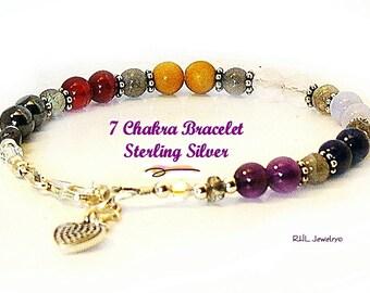 Seven Chakra Bracelet, Gemstone Bracelet and Sterling Silver Heart Charm - B2013-23A