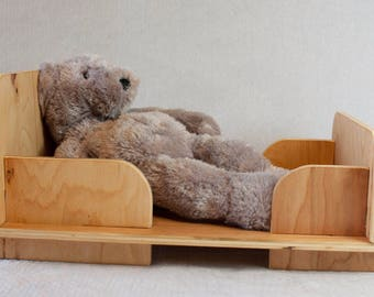 Slide To Create Dollbed: Wooden Doll Bed For Children Of All Ages.  Montessori And