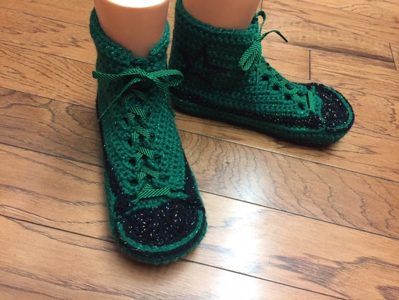 10 top 408 slippers converse converse bling shoes high converse top Converse 8 high Womens tennis slippers crocheted sneaker custom inspired qA1pUp