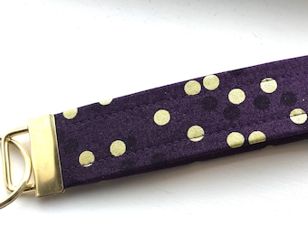 Ombré Dark Purple Gold  Dots Key Chain Wristlet Key Fob Gold Colored Hardware Unique Wristlet Key Fob Ombre Confetti Fabric