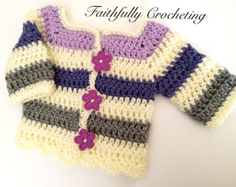 ON SALE...Newborn Sweater.. Striped Long sleeve sweater.. Cardigan.. Sweater jacket.. Purple.. Ready to ship