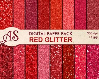 Digital Red Glitter Paper Pack, 16 printable Digital Scrapbooking papers, glitter Digital Collage, Instant Download, set 320