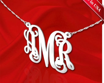 Monogram Necklace 1.25 inch Sterling Silver Handcrafted Personalized Initial Necklace - Made in USA