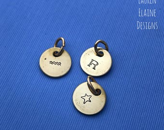 Custom Hand Stamped Brass Initial Charm- Pick the Font