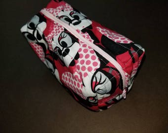 Minnie Mouse/hipster/geek chic toiletry/cosmetic/art supply bag