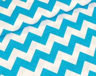 Riley Blake fabric medium neon blue and white Chevron (13.90 EUR / meter)