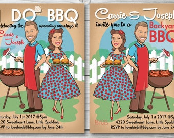 I do BBQ Party Invitation - Backyard Barbeque Invitation - Illustrated from your photo DIGITAL FILE