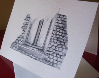 Greeting Cards / Blank Greeting Cards / Window  Note Card / Window Greeting Card / Just Because Cards / Blank Note Cards / Art  N 10
