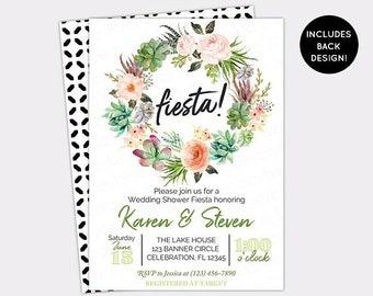 JUNE SALE Fiesta Wedding Shower Invitation - Cactus Bridal Shower Invitation - Succulent Couples Shower Fiesta - Printable Engagement Party