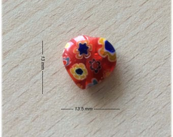 """hand made glass bead """"heart"""" color: tomato"""