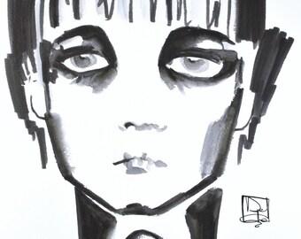 Looking at you, original watercolor Illustration