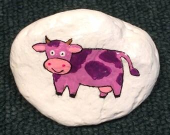 Purple cow painted rock