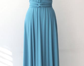 Convertible/Infinity Dress - floor length with long straps in pale blue  color matching tube top