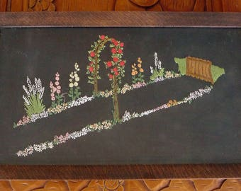 Beautiful OAK? Handled TRAY With Hand EMBROIDERED Flowers Under Glass