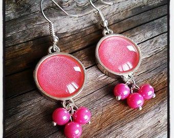 Silver cabochon dangle earrings pink