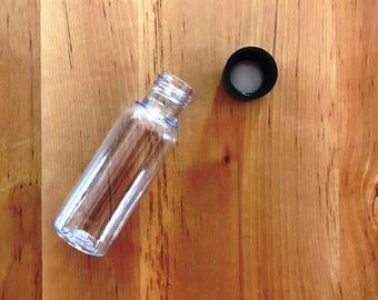 10pcs 1 oz. PET Plastic Empty Bottles Black Lids