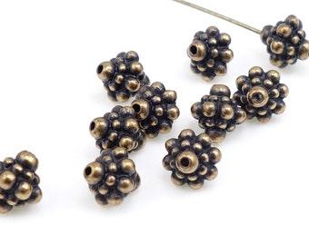 Antique Brass Beads Brass Bali Beads TierraCast PAMADA 8mm Beads Antique Bronze Beads Jewelry Beads Tierra Cast Pewter Beads  (PA18)