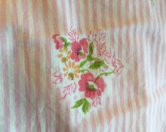 Vintage Floral  fitted twin sheet , pink floral and stripe