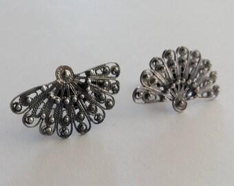 Filigree Jewelry - Fan Earrings Abanico Oscuro - Sterling Silver Earrings - Silver Stud Earrings, Spanish Jewelry, Flamenco, Gift Idea