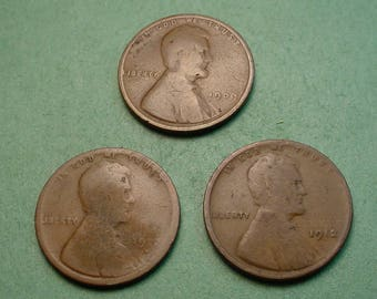 Lincoln Wheat  Cents X's 3  1909,1912,1912-D What you see is what you get Free SH In United States # ET1055