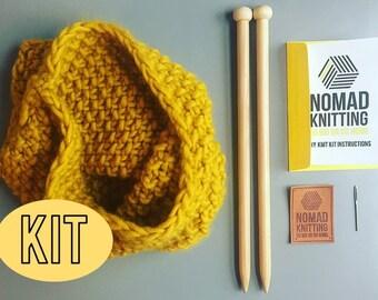 Snood Knit Kit, DIY Knitting Kit, Cowel, Beginners Knit Kit, Learn to Knit Kit , Super Chunky Knit, Sassy Susan Snood, Knitting Pattern