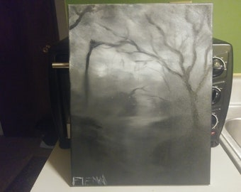 The Dark Trail. Black and White oil deep woods path streched canvas 11x14