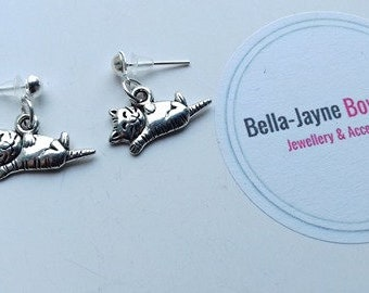 cute kitty / cat / kitten playful lay on back tibetan silver charm stud earrings crazy cat lady/ cat lover gifts for her birthday pet loss