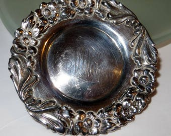 1892 Sterling Silver Dish Engraved Feb 4 1892