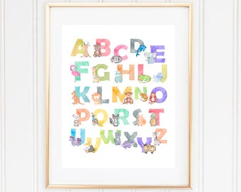 Alphabet Wall Decor, Playroom Decor, ABC Printable, Woodland Animals, Watercolor Alphabet, Animal Alphabet,Kids Room Prints,Nursery Alphabet