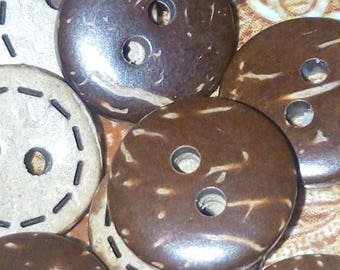 set of 10 buttons coconut round Brown 10 mm sewing scrapbooking