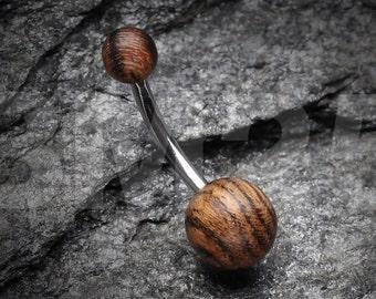 Organic Zebra Wood Belly Button Ring
