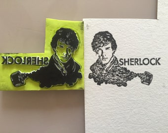 Sherlock Holmes hand carved rubber stamp