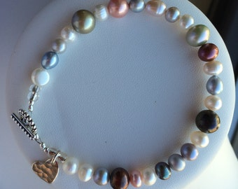 Bracelet — Freshwater Pearls in Many Hues, Sterling Silver Hammered Heart Charm