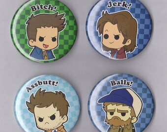 Supernatural Inspired Buttons (4 pack), Dean Winchester, Sam Winchester, Castiel and Bobby
