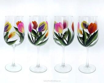 Hand Painted Colorful Tulip Wine Glasses Set of 4 Spring Tulip Stemware