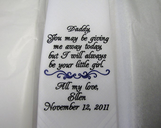 Father of the Bride Wedding Handkerchief, Gift for Father, Mens Handkerchief, Father of the Bride Gift From Bride, Bride Gift to Dad, Bridal