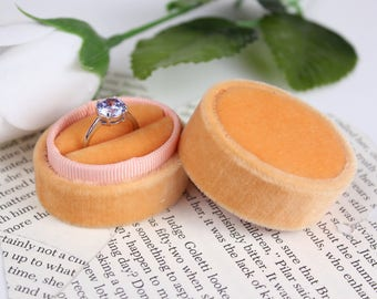 Vintage Style  Ring Box in Mango Velvet and Grosgrain Ribbon For Proposals, Weddings, and Heirloom Jewelry