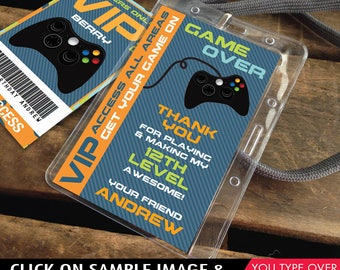 Video Gamer VIP I.D. Badge Thank You - 2-Sided Badge, Party Favor, Game Truck Party | Instant Download D.I.Y. Printable PDF Kit