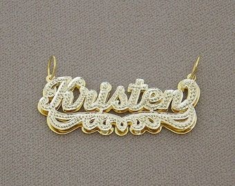 Personalized 10K or 14K Gold 3D Double Plate Pendant Iced Out Name Charm ND22