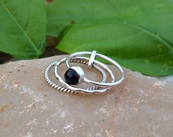 Natural Black Onyx Ring - Gemstone Ring - Stacking Ring - Gemstone Jewelry - Handmade Jewelry