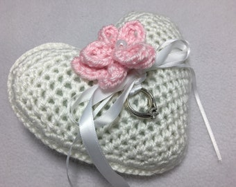 Wedding Ring Bearer Pillow, Crocheted, Pearl, ~ ready to ship!