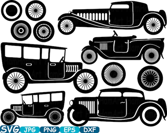 Vintage Sport Cars Monogram Cutting Files Digital Svg Eps Png Dxf Jpg Vinyl Clip Art Antique Car ClipArt Retro Clipart Old 317S From HamHamArt On