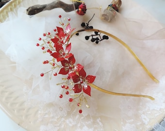 Red and Gold Flowers Headband Bridal Hair Piece Red Rose Headband Gold Red Dress Headband Wedding Headband Elegant Red Headband Bridal Tiara