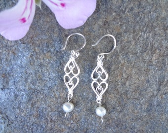 Sterling silver heart with freshwater pearl earrings