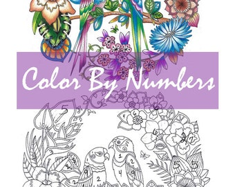 Magical Jungle Lovebirds Easy How To Color By Numbers With Prismacolor Lisa Brando Extreme Coloring