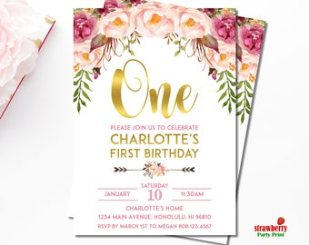 Floral 1st Birthday Invitation, Girl First Birthday Invitation, Pink Floral Birthday Invitation, Personalized Printable Invitation, A54