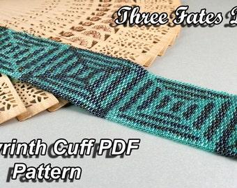 Pattern, Labyrinth, Tutorial, PDF Pattern, Seed Bead Pattern, Abstract, Beaded Bracelet, Cuff Bracelet