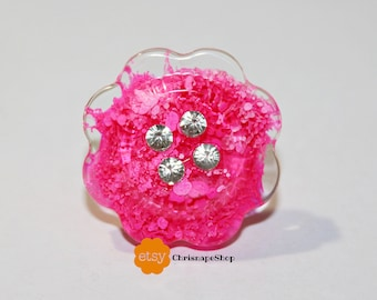 Resin ring ' bright flower ' (2 different colors)