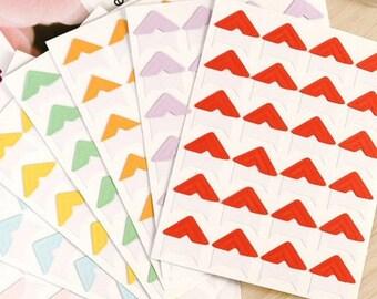 120 pcs Candy Color Paper Photo Corners Stickers // Scrapbooking Embellishment // Journal Decoration T07