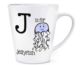 Letter J Is For Jellyfish 12oz Latte Mug Cup
